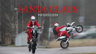 getlinkyoutube.com-Supermoto Christmas | Santa Claus Doing Wheelies On Motorcycles! [NTK EDIT]