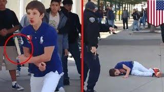 getlinkyoutube.com-学校で刃物振り回した学生、校内駐在の警察官に撃たれる 米