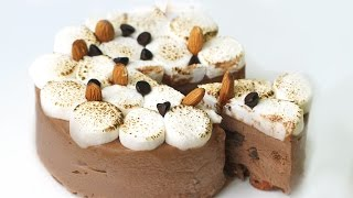 getlinkyoutube.com-ROCKY ROAD ICE CREAM CAKE - Eggless Chocolate Ice Cream Recipe 초코 아이스크림 케이크 만들기