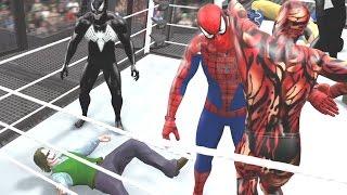 getlinkyoutube.com-SPIDERMAN VS CARNAGE VS VENOM VS WOLVERINE VS JOKER VS BANE - WWE 2K15