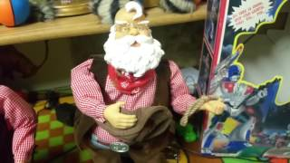 getlinkyoutube.com-Gemmy Animated Dancing Cowboy, rawhide, lasso santa