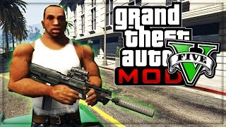"getlinkyoutube.com-GTA 5 CJ FROM SAN ANDREAS GAMEPLAY! (Grand Theft Auto V Mod GTA 5 CJ ""Carl Johnson"")"