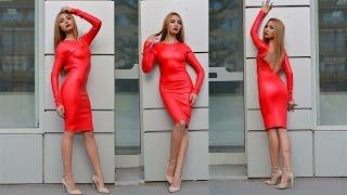 getlinkyoutube.com-Red Leather Dress