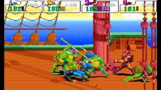 Teenage Mutant Ninja Turtles: Turtles in Time HD (Arcade/1991) 4 Turtles FULL Walkthrough