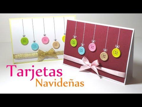 Manualidades para Navidad: TARJETAS de NAVIDAD con Botones - DIY Innova Manualidades