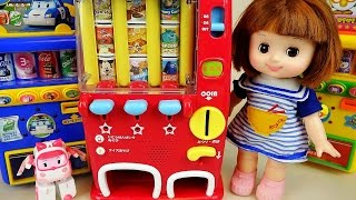 getlinkyoutube.com-Baby doll and Robocar Poli Vending machine toys