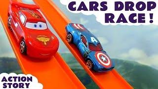 getlinkyoutube.com-Disney Cars Toys Hot Wheels Drop Race with Spiderman Iron Man Captain America & TMNT Kids Toy