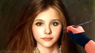 getlinkyoutube.com-Chloe Grace Moretz Full Color Pastel Portrait Drawing Video