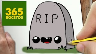 getlinkyoutube.com-COMO DIBUJAR LAPIDA KAWAII PASO A PASO - Dibujos kawaii faciles - How to draw a headstone