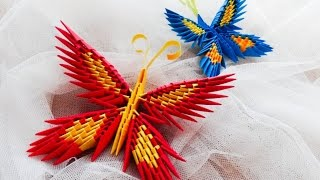 origami motyl krok po kroku / how to make a origami butterfly tutorial 3D