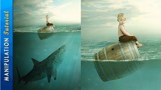 getlinkyoutube.com-Photoshop Photo Manipulation Tutorial : Boy & Shark - Under Water Scene