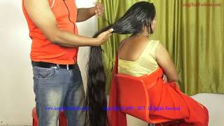 Sejal Very Long Hair Oiling & Oiled Hair Play by Man