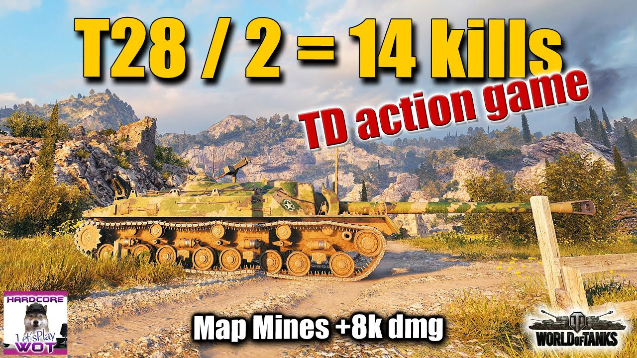 T28  14 kills action TD game  best World of Tanks replay