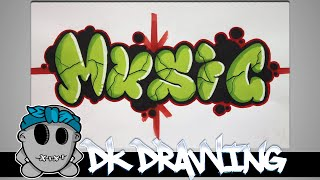 getlinkyoutube.com-Graffiti Tutorial for beginners - How to color bubble letters music #7