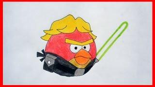 How to draw Angry Birds Star Wars, Luke Skywalker Bird