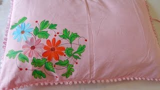 getlinkyoutube.com-Easy method of FABRIC PAINTING: Making a floral pillow in minutes