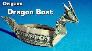 getlinkyoutube.com-dollar origami dragon boat (instruction), money origami, $1 bill origami, dollar bill origami