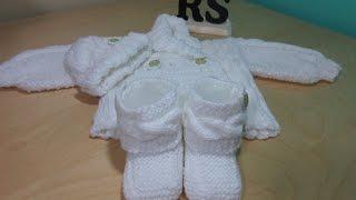 getlinkyoutube.com-Como tejer botas de trenzas para bebé recien nacido principiantes