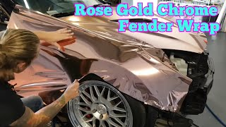getlinkyoutube.com-ROSE GOLD CHROME. Detailed info on how to wrap your fender. How to wrap your car. By @CKWRAPS