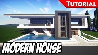 getlinkyoutube.com-Minecraft: Easy Modern House / Mansion Tutorial #5 + DOWNLOAD - 1.8 [ How to make ]