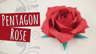 getlinkyoutube.com-Origami Pentagon Rose (Naomiki Sato) 折り紙バラ
