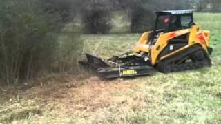 getlinkyoutube.com-Skid Steer Rotary Brush Cutter Mowing thick privitt bush
