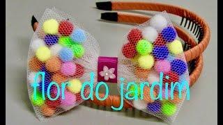 getlinkyoutube.com-Laço de Tule e Pompom -Pompom and tulle bow