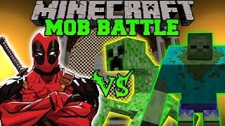 getlinkyoutube.com-MUTANT CREEPER AND MUTANT ZOMBIE VS DEADPOOL - Minecraft Mod Battle - Mob Battles - Mutant Creatures