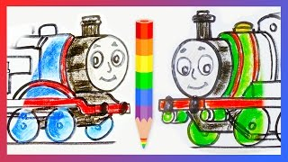 getlinkyoutube.com-How to Draw Thomas the Tank Engine and Percy the Small Engine ♦ Drawing Tutorial