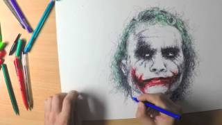 getlinkyoutube.com-Chaotic scribble drawing of Heath Ledger's Joker