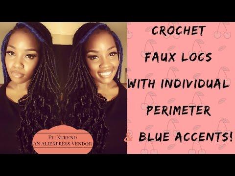 BLUE ACCENT CROCHET FAUX LOCS W/INDIVIDUAL PERIMETER