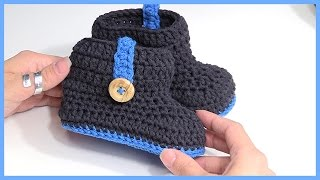getlinkyoutube.com-How to Crochet Multi Colored Baby Booties