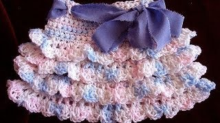 getlinkyoutube.com-crochet RUFFLED SKIRT, how to diy, make it any size, baby to adult, swing skirt, shells,