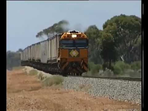 Freight trains in Australias Nullabor Desert
