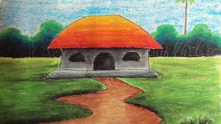 getlinkyoutube.com-How to Draw a Village Landscape with Oil Pastels | Episode-4