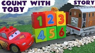 getlinkyoutube.com-Learn To Count 123 With Cars & Thomas & Friends Toby Lego Duplo Cars McQueen Plus Animals