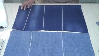 getlinkyoutube.com-How to make flat fabric from old jeans / Recycle Reuse