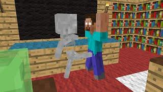 getlinkyoutube.com-Monster School: Brave - Minecraft Animation - Skeleton kicks balls of Herobrine, he's so brave :))