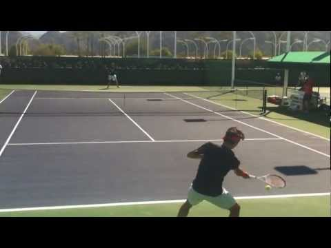 Federer and Fish Practice at Indian Wells 2013