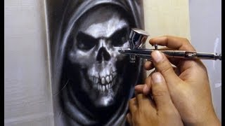 Airbrushing Skull on Leather