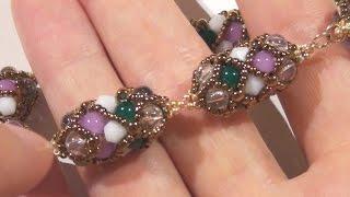 getlinkyoutube.com-Sarubbest: bracciale ed orecchini con tecnica RAW, perline rocailles e perle in vetro economiche