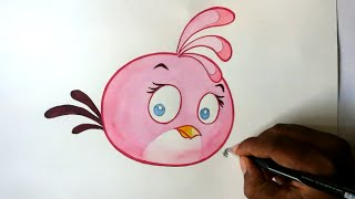 getlinkyoutube.com-How to draw Angry bird cute Stella-Pink Bird