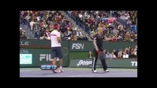 getlinkyoutube.com-Federer imitates Nadal twice