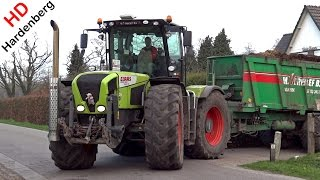 getlinkyoutube.com-Claas Xerion 3300 TRAC VC + Claas Axion 820 Cmatic | Spreading manure | Uddel | NL | 2015.