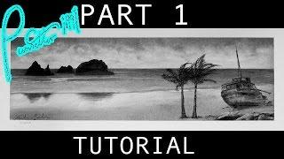 getlinkyoutube.com-How to Draw A Beach Scene With Shipwreck Part 1