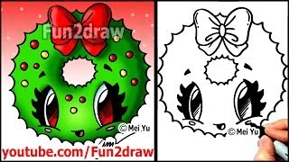 getlinkyoutube.com-How to Draw a Christmas Wreath with a Bow - Fun2draw Easy Cartoon drawings