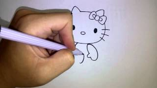 getlinkyoutube.com-สอนวาดรูป การ์ตูน คิตตี้ Hello Kitty ท่านั่ง