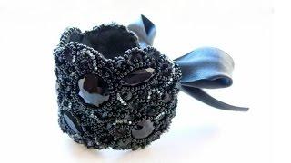 getlinkyoutube.com-Бижутерия своими руками: вышитый бисером вечерний браслет на лентах. Мастер-класс.