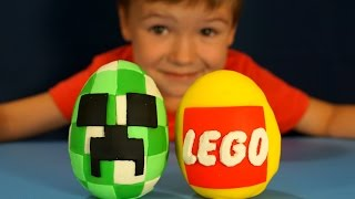 getlinkyoutube.com-BIG LEGO Surprise Egg made of Play-Doh. Большой Киндер Лего Майнкрафт из пластилина на русском