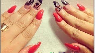 getlinkyoutube.com-TUTORIAL: Uñas Ovaladas Rojas con Encaje ♥